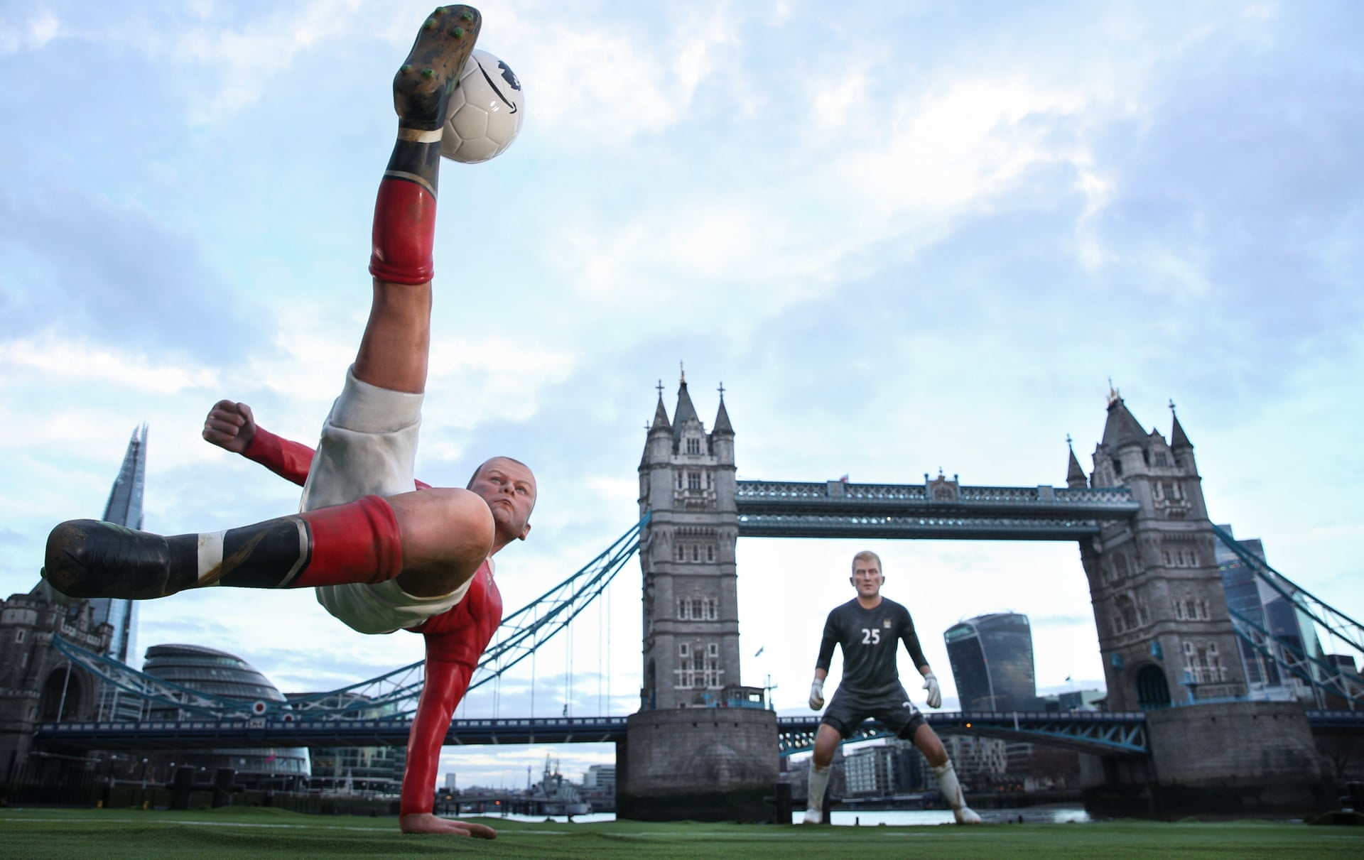 Wayne Rooney's bicycle kick against Manchester City is brought to life on the Thames, with Tower Bridge as the goal, at Amazon Prime's launch. Photograph: PinPep/Rex