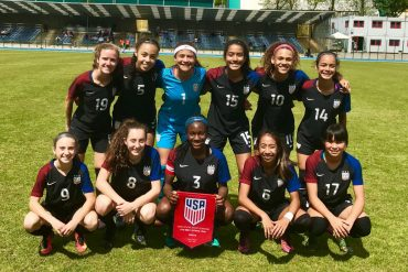 The US U16 Girls National Team starting XI versus Croatia in May or 2017. FCD's Samar Guidry wearing #3 was captain on that day.(@ussoccer_ynt / US Soccer)