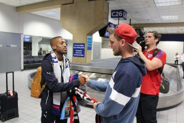FC Dallas winger Fafa Picault meets FC Dallas fan Luis Dollar after arriving at DFW Airport on 1/15/20 (Dan Crooke)
