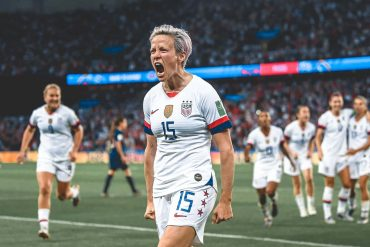 Megan Rapinoe celebrates after scoring for the US Women's National Team at the 2019 FIFA Women's World Cup in France (US Soccer)