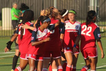 Toyota Soccer Center, Frisco TX (June 22, 2018): FC Dallas players congratulate Julie James on scoring the opening goal of a 5-1 win over Fortuna Tulsa.(Dan Crooke / 3rd Degree)