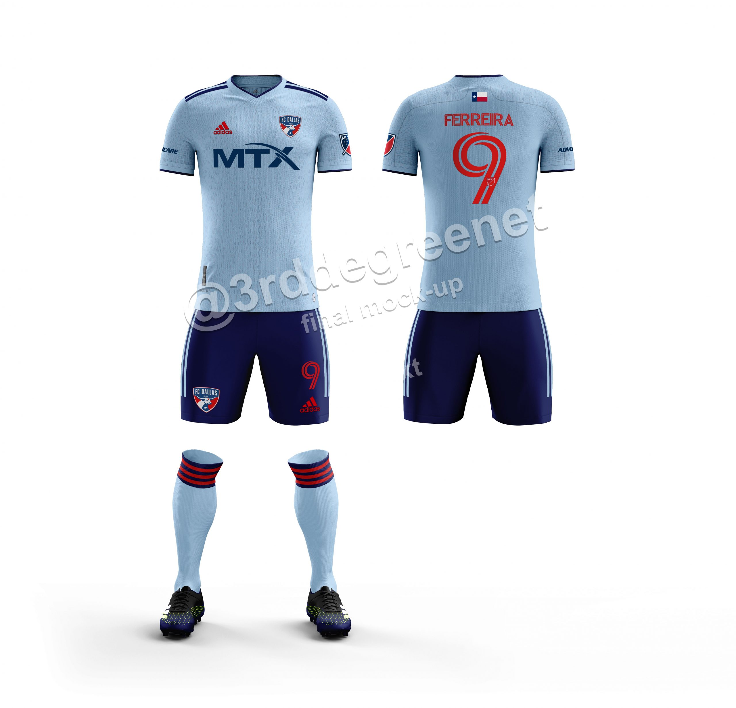 3rd Degree's FC Dallas 2021 secondary Kit mock up, fabric close up. (Dan Crooke, 3rd Degree)