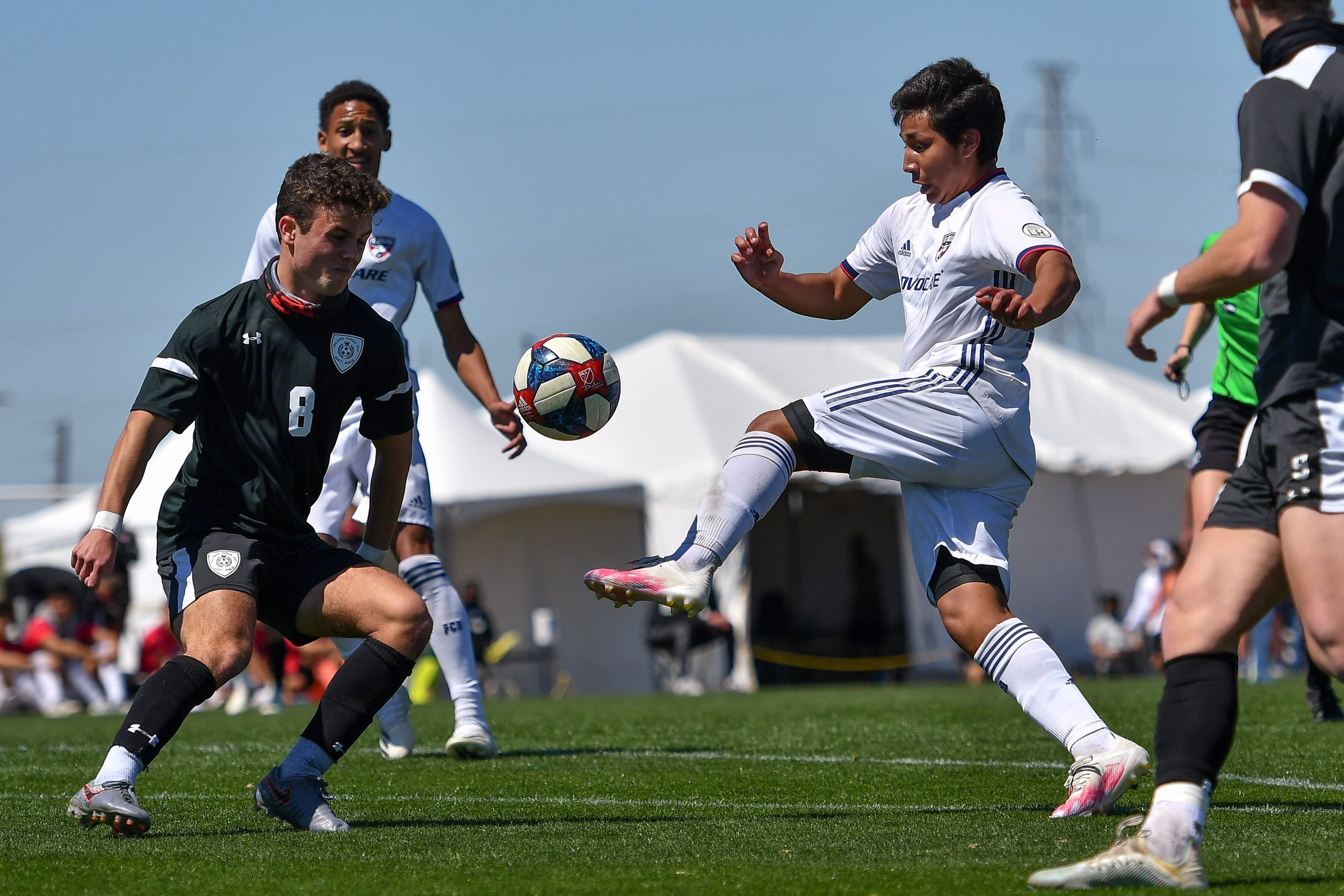 Cesar Elizalde tips the ball up in the Dallas Cup match against Black Rock FC.