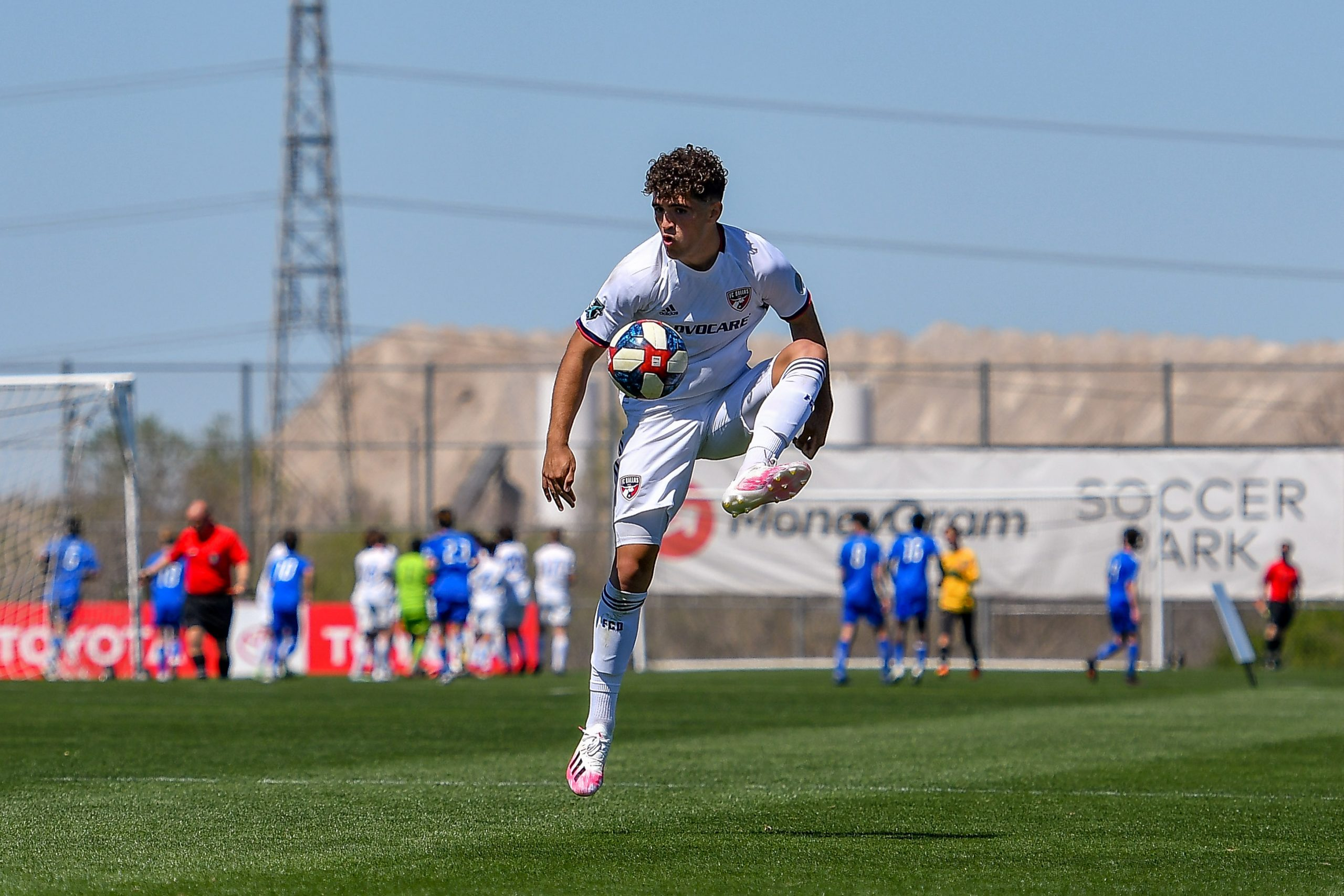 Josh Ramsey brings the ball down in the Dallas Cup match against Black Rock FC.