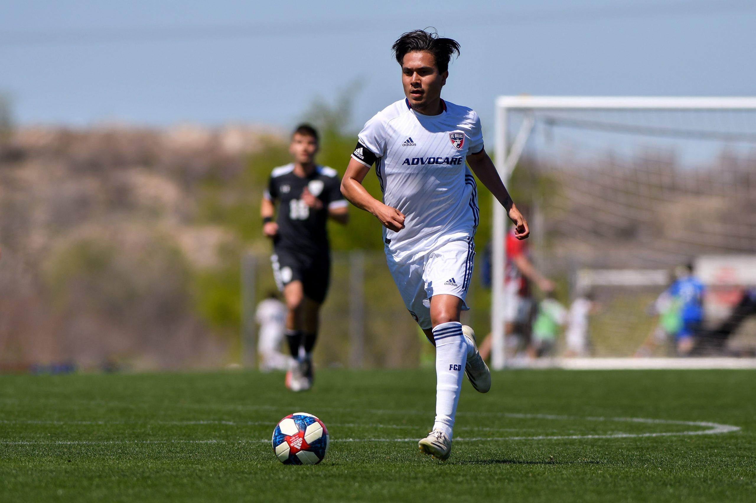 Cesar Garcia dribbles upfield in the Dallas Cup match against Black Rock FC.