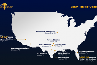 Concacaf 2021 Gold Cup host venues.